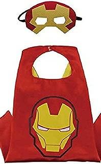 Honey Badger Brands Dress Up Comics Cartoon Superhero Costume with Satin Cape and Matching Felt Mask, Iron Man