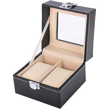 Valyria Watch Box Small 2 Mens Black Leather Display Glass Top Jewelry Case Organizer