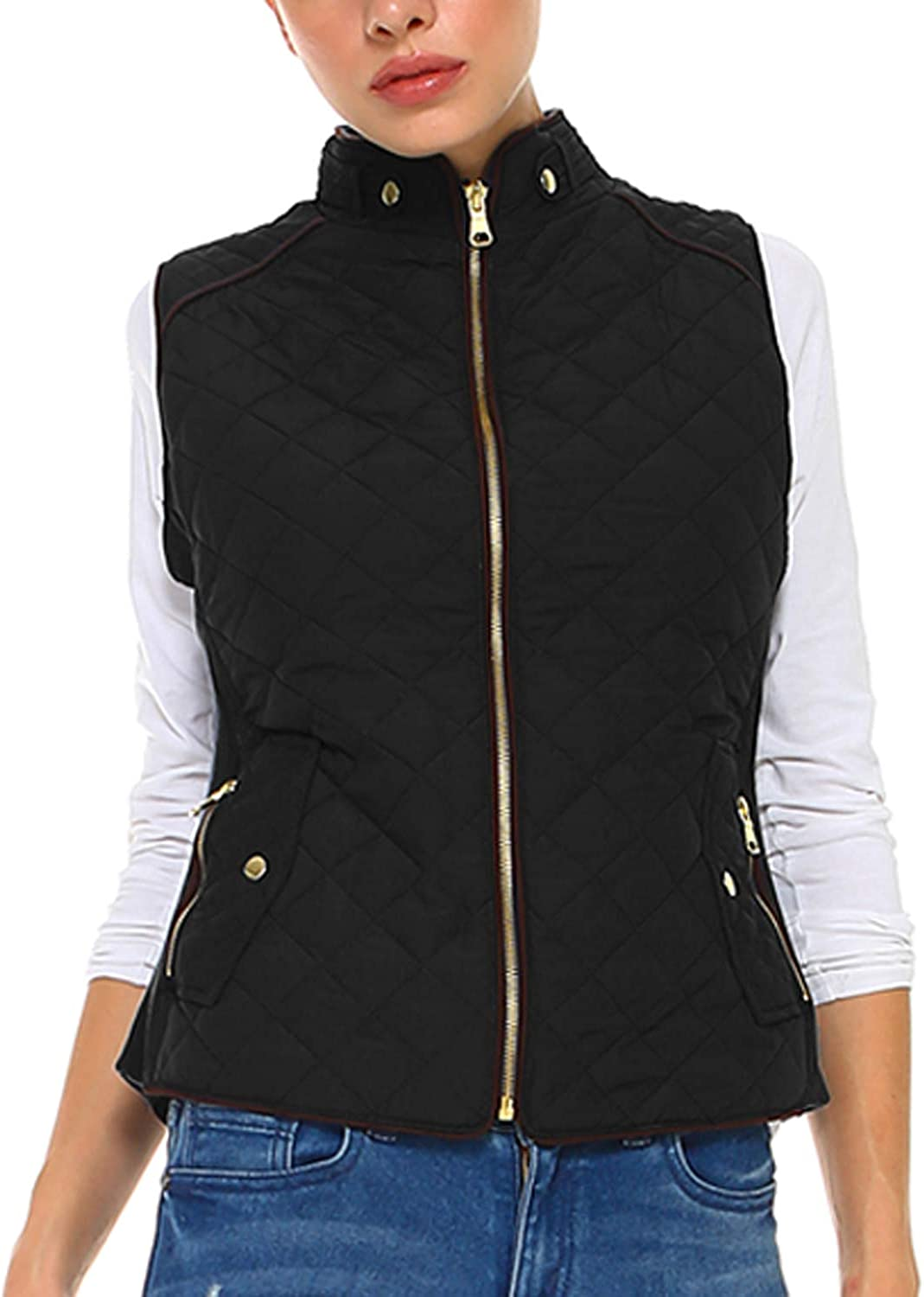Fashionazzle Women's Lightweight Suede Contrast Quilted Zip Up V