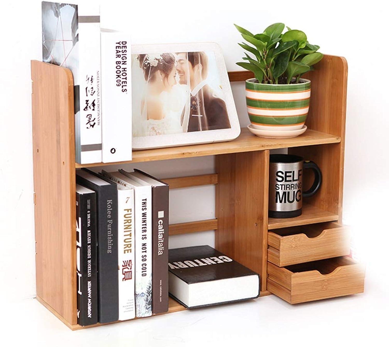 Bookshelves Bookshelf Racks Desktop Storage Rack Student Small Bookshelf Bamboo Simple Small Bookshelf bookcases Furniture (color   Wood color, Size   46x19x58cm)