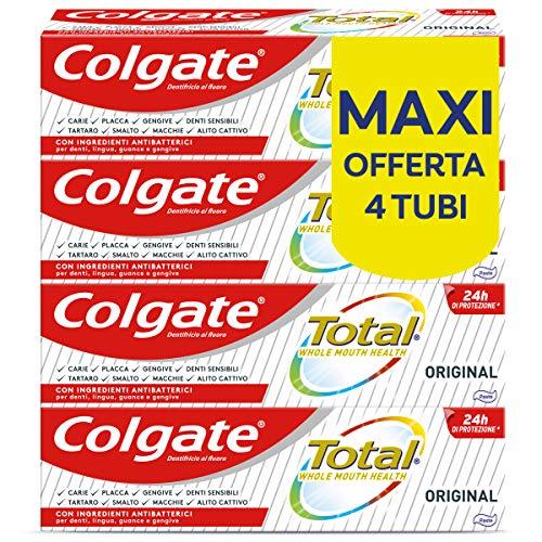 Colgate Dentifricio con Ingredienti Antibatterici Total Original, 24h di Protezione di...