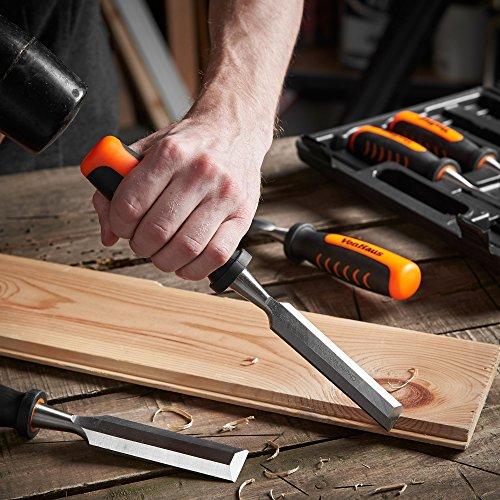 VonHaus Set 8 pc Ciseaux à bois Professionnels de Précision Sculpteur de Bois avec Guide d'Affûtage, Pierre à Aiguiser & Pochette de Rangement