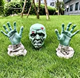 YaNovate Halloween Decorations, Scary Zombie Face and Arms with Removable Stakes for Outdoor Indoor Halloween Decor Clearance Party Props Outside Grave Lawn Yard Garden Graveyard Ground