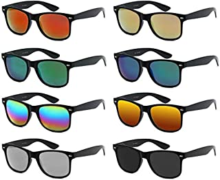 Neon Colors Lens Party Favor Supplies Unisex Sunglasses Pack of 8 (Black Mirrored)