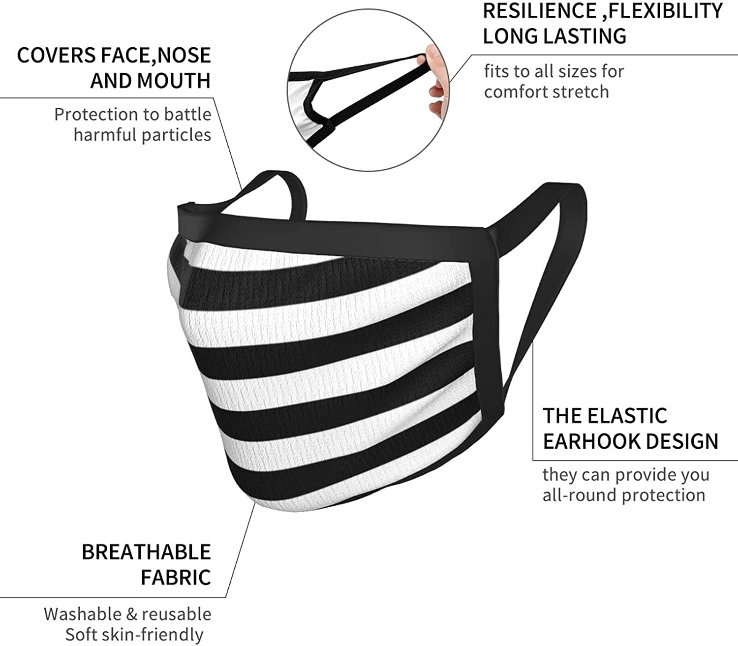 Balaclava Earmuffs Zebra Stripes Black And White Reverse Face Mouth Cover Mask Reusable Dust Scarf Towel Cover Headwrap