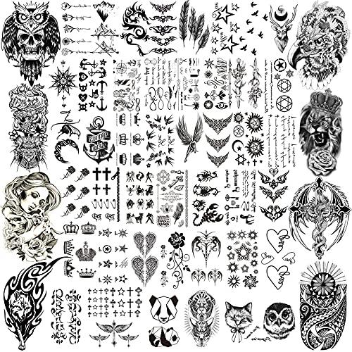 COTTONIX 52 hojas Tatuajes Temporales Adultos, Gran y Pequeño Tattoo Temporal Impermeables, Línea Geométrica Oso Búho Polilla Mujer Cráneo Falso Águila Tatuajes Calcamonias Tatuajes