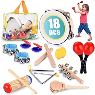 Beauenty Toddler Educational & Musical Percussion for Kids & Children Instruments Set 18 Pcs – With Tambourine, Maracas, C...