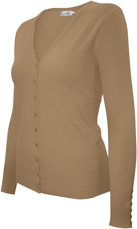 CIELO Women's Classic Knit Silk Soft Cardigan Sweater, VNeck