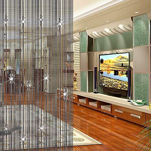 Doolland Perlenschnur-Quasten-Vorhang, Trennwand, Türvorhang, Perlenvorhang, Türvorhang, Raumdekoration, Trennwand, Kristallquasten, 1 m x 2 m