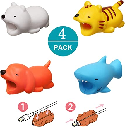 Newseego Compatible with iPhone Cable Protector Charger Saver Cute Animal Cable Accessory-4 Pack