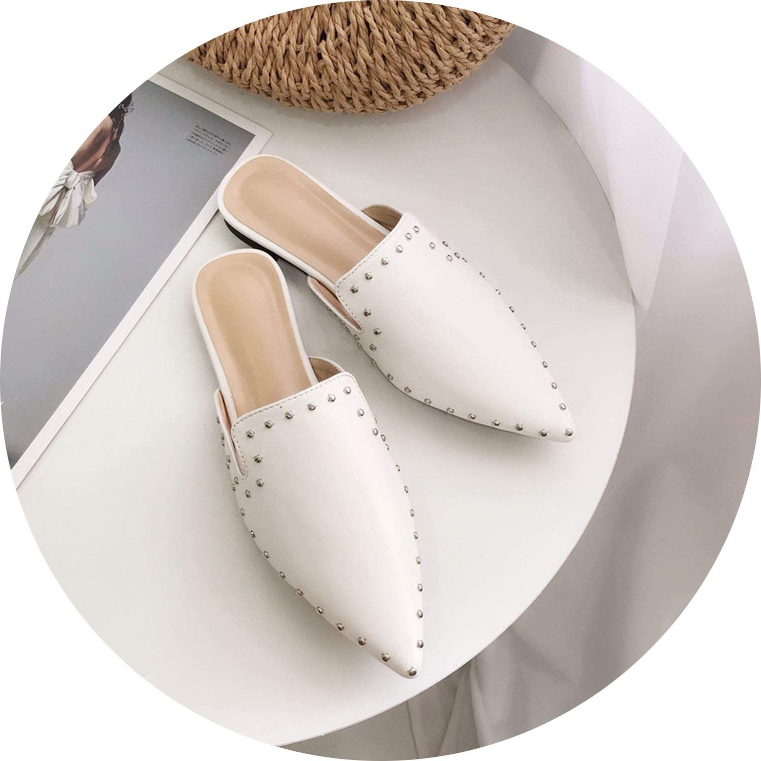Rivet Design Woman Mules shoes Pointed Toe Female Flat Slippers Ladies Slip On Loafers Leather Pu Summer shoes