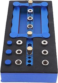 HKUN ドリルガイド 位置決めガイド ガイドプレート 補助プレート 木工 掘削 調整可能 6mm/8mm/10mm 木工ツールセット ブルー