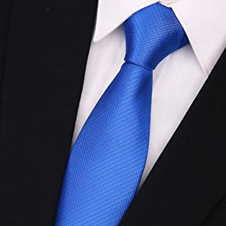 Blue Series Men's Ties, Solid Color Tie Multi-Striped Business Tie, 145 × 7cm Father, CQQO (Color : E)