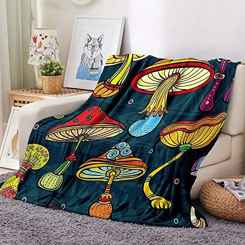 Manta de Franela de Doble Cara Súper Suave Cálida Manta de Cuatro Estaciones, Adecuada para Sofá, Dormitorio, Oficina y Regalo etc Seta de Dibujos Animados 150x200cm