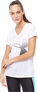 Under Armour TRAINING TOPS SHORTS SLEEVES WOMENS, Size XL (White & Black)