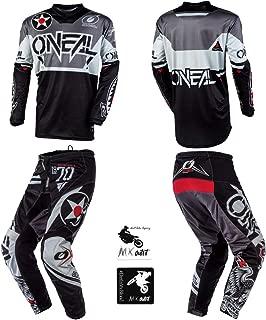 O'Neal Element Warhawk Black/Gray Adult motocross MX off-road dirt bike Jersey Pants combo riding gear set (Pants W34 / Jersey X-Large)