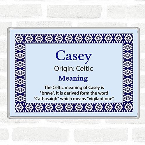 Casey Name Meaning Jumbo Fridge Magnet Blue