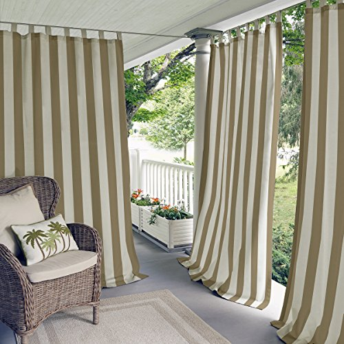 """Elrene Home Fashions Highland Stripe Indoor/Outdoor Adhesive Loop Fastener Tab Top Window Curtain Panel for Patio, Pergola, Porch, Deck, Lanai, and Cabana, 50""""x95"""", Natural"""