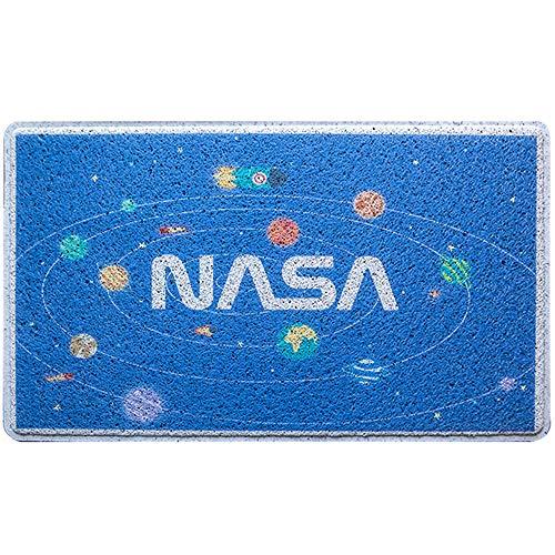 Love Home Dibujos Animados Cuarto para Niños Felpudo,Antideslizante Rectángulo NASA Gato Patrón Perfil Bajo PVC Sin Tóxicos Divertido Interior Azul A 60 * 90cm(24 * 35inch)