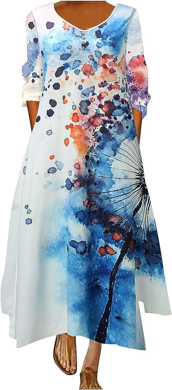 Smooto Maxi Dress Women Floral Loose Oversized Boho Beach Dress with Pockets
