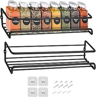 Venkaite Lot de 2 étagères à épices en métal à fixation murale avec adhésif ou à visser Noir