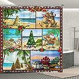 Weihnachts-Duschvorhang Urlaub Strand Weihnachtsmann Badezimmer Vorhang Set Weihnachtsbaum aus Sand & Muscheln Festival Badezimmer Dekoration mit 12 Haken für Kinder Erwachsene 178 x 178 cm