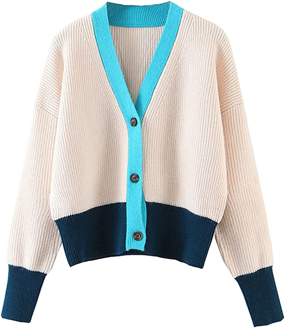 Fashion Panelled Columbus Mall Knitted Cardigan Women Sweater Ja Neck Autumn Challenge the lowest price V