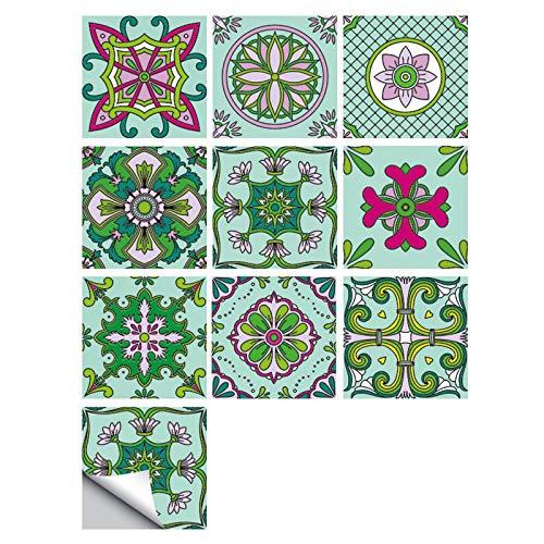 caixy Vinilos Cocina Azulejos Empalme Pequeñas Pegatinas De Azulejos De Simulación Floral Decoración De Renovación Del Hogar Pegatinas De Pared Impermeables Autoadhesivas,10*10cm×10pcs,PVC
