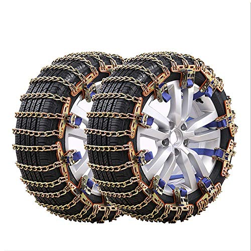 Snow Chain Car Universal Winter Tire Snow Chain Bold 5.1MM Three Twist Chain Suitable for 165-285 Tires Safety Emergency Tools for SUV MPV RV (10Pcs),165to195
