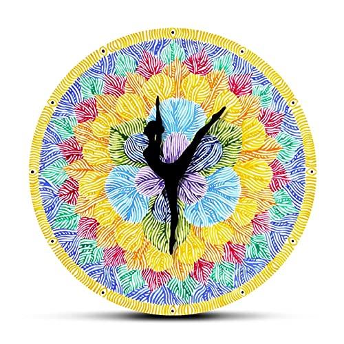 Reloj de Pared Color del Signo de Chakra Impreso Mudo Reloj de Pared Grande Reloj de Yoga Mano Flor de Loto Colorida Pintura de Acuarela Reloj Colgante de Pared