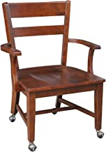 International Concepts Desk Chair with Arms and Casters, Espresso Finish