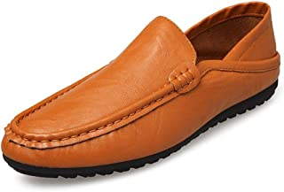 JJESC Loafers Men's Flat Penny Shoes Round Head Shoe Cover Microfiber Leather Stitching Non-slip