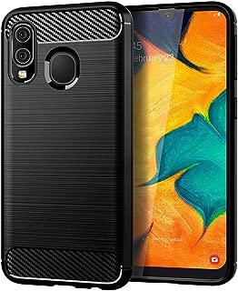 جراب Qoosea متوافق مع هاتف Samsung Galaxy A30 من ألياف الكربون الناعمة المرنة المضادة للبصمات وغطاء ناعم واقي لهاتف Samsung Galaxy A30
