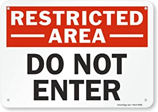 """SmartSign """"Restricted Area - Do Not Enter"""" Sign   7"""" x 10"""" Plastic"""
