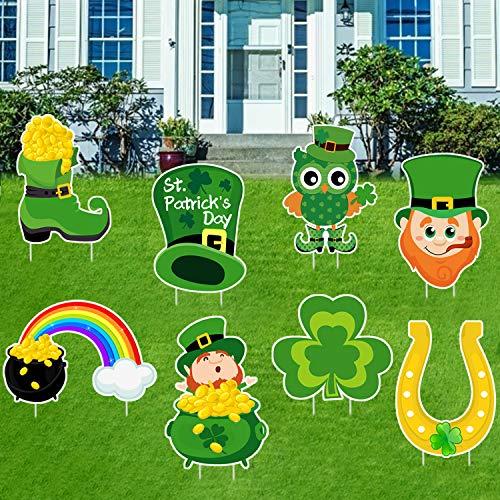 8 PCS St. Patrick's Day Yard Sign Outdoor Lawn Decorations   St. Patrick's Day Decorations Outdoor  Irish Leprechaun Horseshoe Shamrock Yard Sign with Stakes  Saint Patty's Day Outdoor Decorations