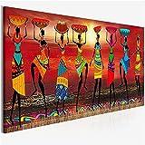 Cuadros Etnicos Tribal Arte Pinturas Africanas Mujeres Bailar Pintura al óleo Fotografía for la Sala de Estar Impresión de lienzos Decoración de la casa 8x24in (Size : 30x90cm(12x36in))