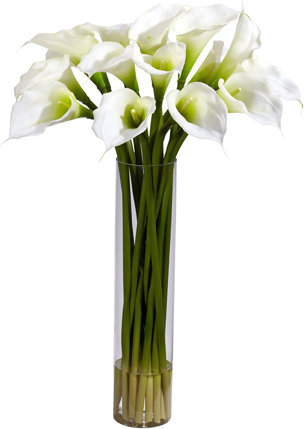 Nearly Natural 1251-CR Calla Lilly with Cylinder Silk Flower Arrangement, Cream