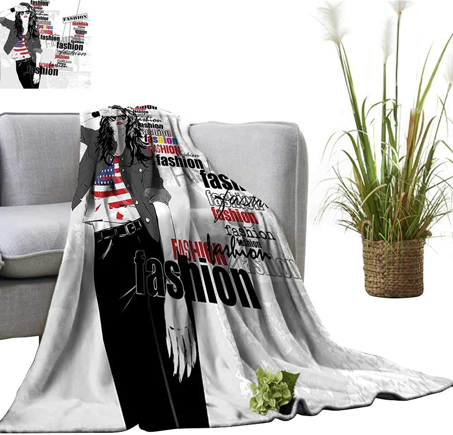 YOYI Home Fashion Blanket A Modern Girl with USA Flag Tshirt colorful Thema Beauty in Street Lightweight Blankets for Couch Bed Sofa 50 x70
