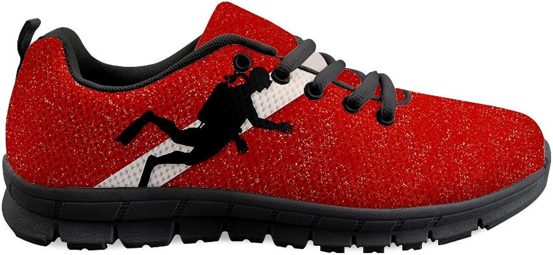 Owaheson Lace-up Sneaker Training shoes Mens Womens Scuba Dive Flag