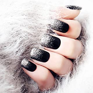 Drecode False Nails Sliver Sequins Full Cover Fake Nails Fashion Party Clip on Nails for Women and Girls (Black)