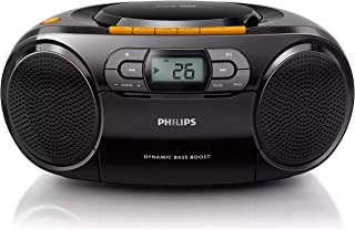 PHILIPS Stereo CD Cassette Player, Portable Boombox, USB, FM, MP3, Tape, AZ328
