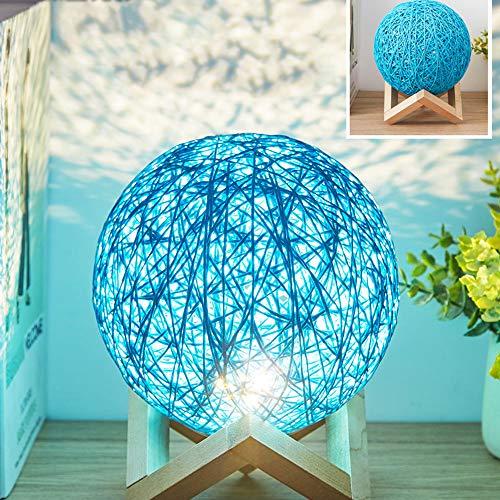 Rrzshop Modern Deko Lampe Nachttischlampe LED Nachtlicht für Schlafzimmer und Kinderzimmer, USB Tischlampe Nachtlampe Kinder Stimmungslicht mit Holzhalterung (Blau)