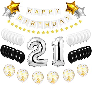 Best Happy to 21st Birthday Balloons Set - High Quality Birthday Theme Decorations for 21 Years Old Party Supplies Silver Black Gold