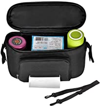 Large Baby Stroller Organizer with 2 Cup Holders,Waterproof Stroller Bag Separated Tissue Pocket, with Shoulder Bag Straps for Mom Travel