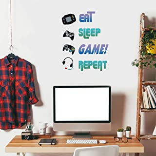 Creative Gaming Quote Eat Sleep Game Repeat Wall Decal, Video Game Controller Sticker for Kids Room Boys Bedroom Playroom ...