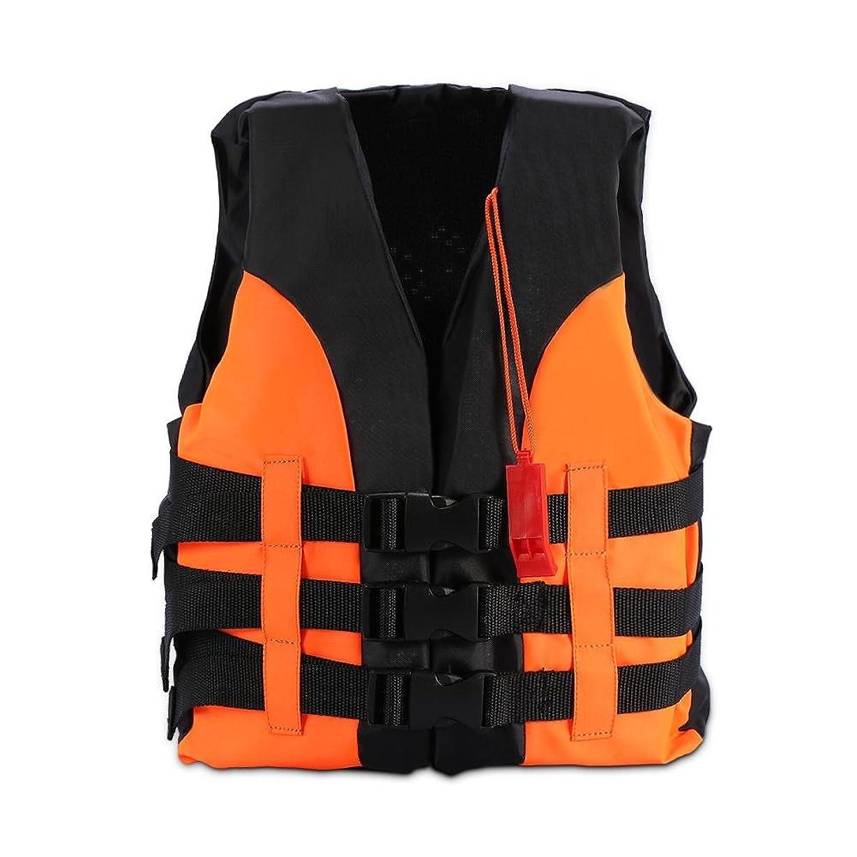 案件共産主義者彼はライフジャケット フローティングベスト 子供用 救命胴衣 安全対策 緊急場合 目立ちタイプ サバイバルホイッスル 高い浮力 親子活動 サイズ調節可 蛍光色 2サイズ