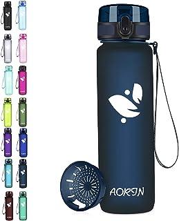 AORIN Botella de Agua Deportiva-350ml/500ml/750ml/1000ml-Botella Agua Ninos Sin BPA,Impermeable y Reutilizable,Aplicar a Deportiva, Gimnasio, Trekking,Botella Agua Bicicleta