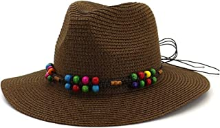 Casual Panama Sun Hats Solid Color Fedora Men Summer Hats for Trilby Gangster Cap Church Jazz Hats Wide Brim Sunhats` TuanTuan (Color : Coffee, Size : 56-58CM)