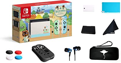 """Newest Nintendo Switch - Animal Crossing: New Horizons Edition 32GB Console - Pastel Green and Blue Joy-Con -6.2"""" Touchscr..."""