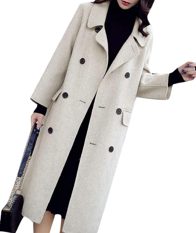 Jxfd Women Wool Coat DoubleBreasted Outerwear Winter Warm Trench Jackets